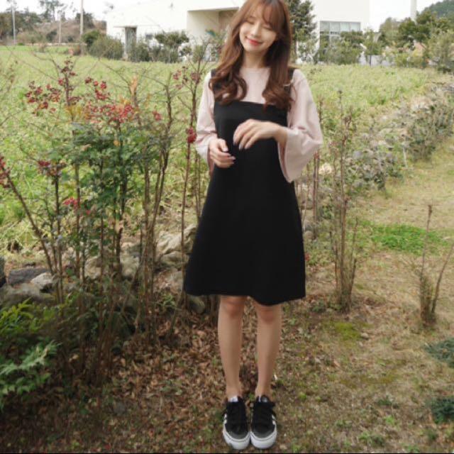 韓版男孩風吊帶連身裙