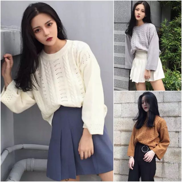 韓版時尚必備冬天鏤空針織上衣