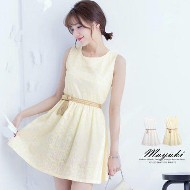 黃色蕾絲洋裝