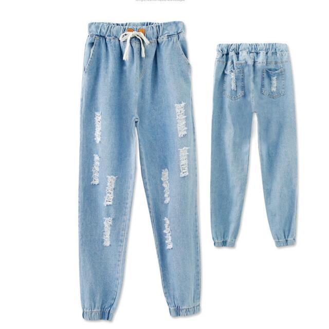 全新 鬆緊淺藍男友哈倫褲