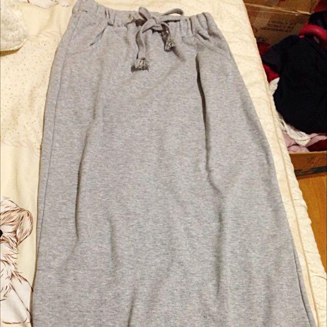 [全新] 淺灰棉質長裙 版型超好看 (可換物)
