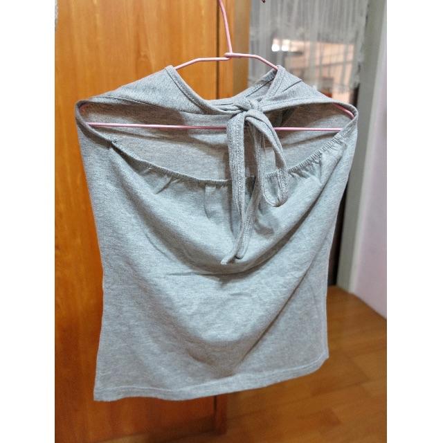 (全新含運)灰色 綁帶 棉質 內搭 上衣