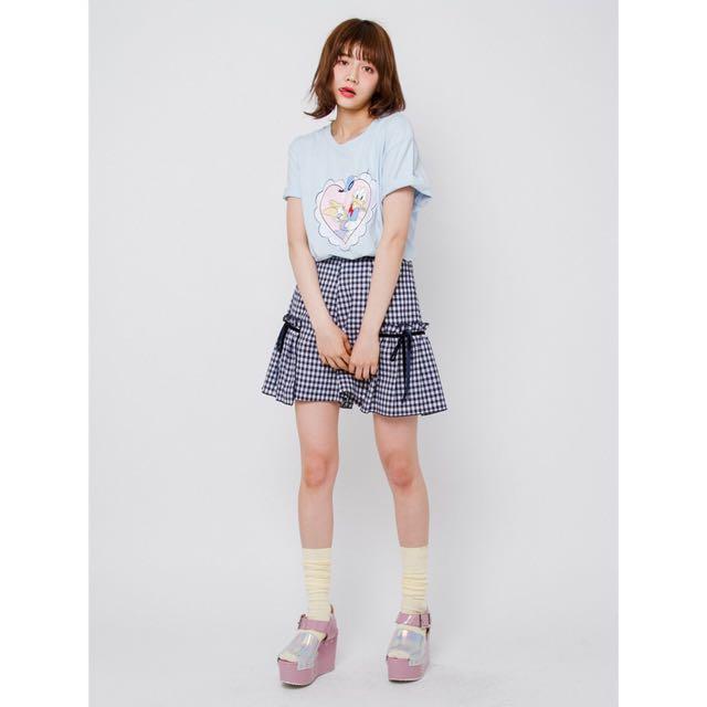 正版日牌 全新 Merry Jenny 細格紋 黑白色 蝴蝶結 褲裙