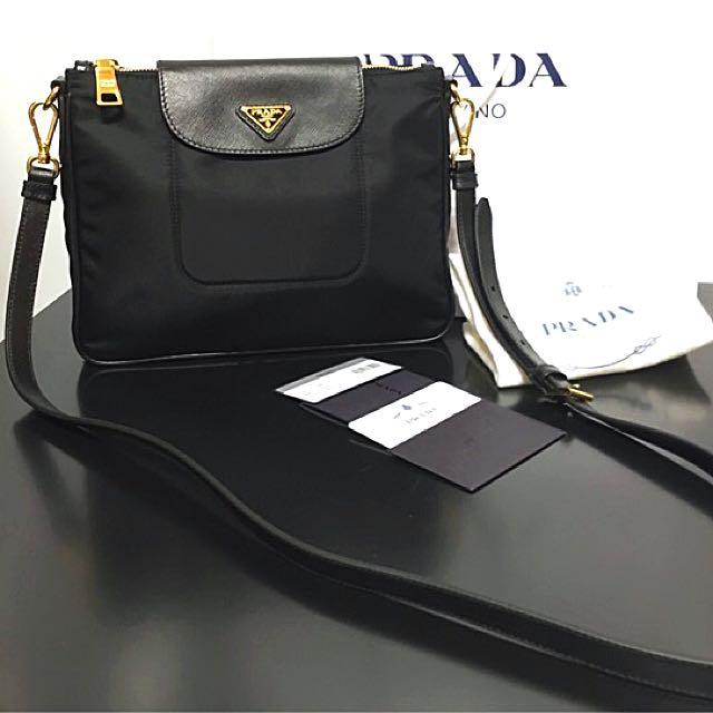 5f792137ae42 Authentic PRADA Tessuto Saffiano Leather Black Sling Bag, Luxury ...