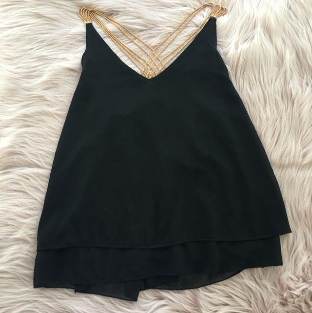 Black top with gold embellished straps