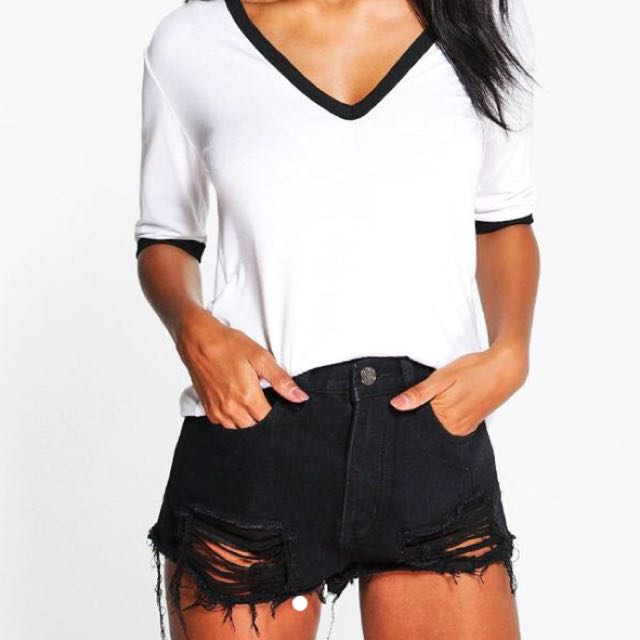 Boohoo Carla Extreme Ripped Denim Shorts