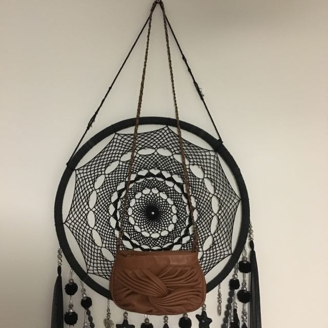 Brown Swirl Zip Up Sling Bag