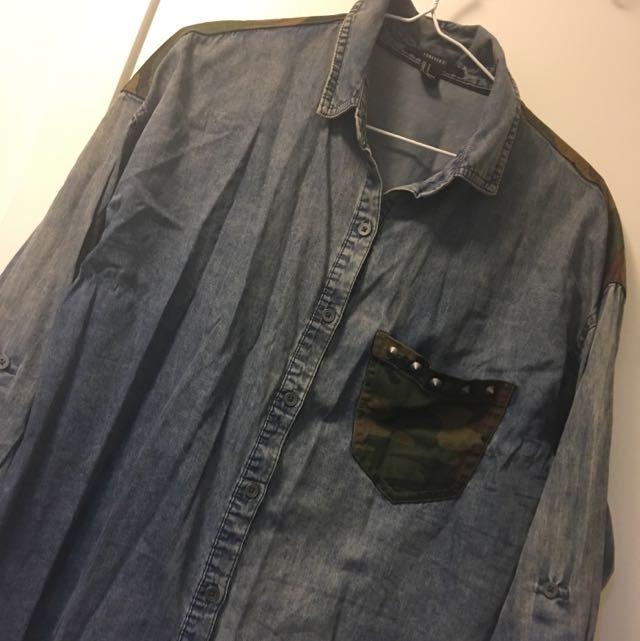 F21 Acid Wash & Camo Denim Button-Up