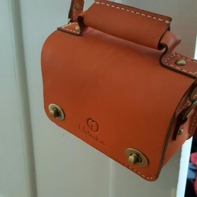 Hatsukoi Orange Leather Shoulder Bag