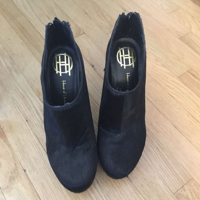 House Of Harlowe Black Calf Hair Heels