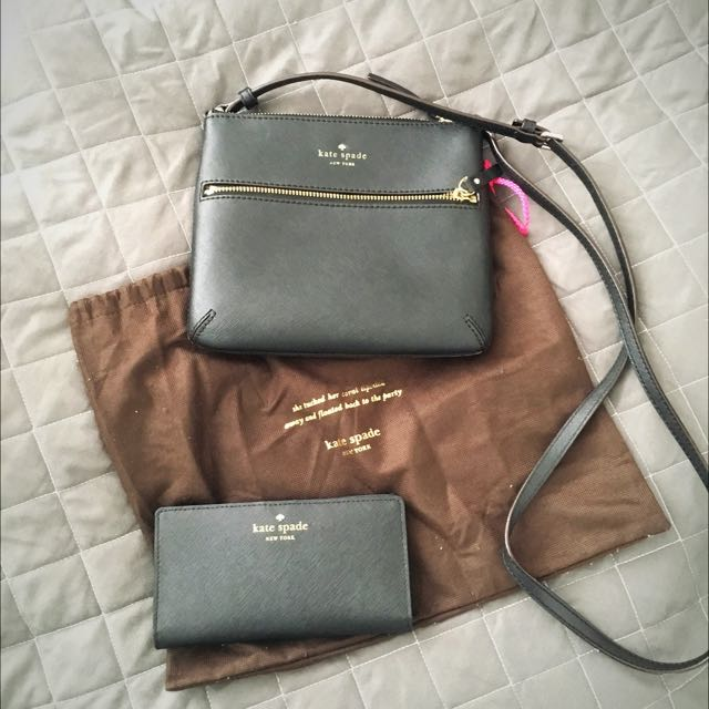 Kate Spade Black Crossbody And Stacy Wallet