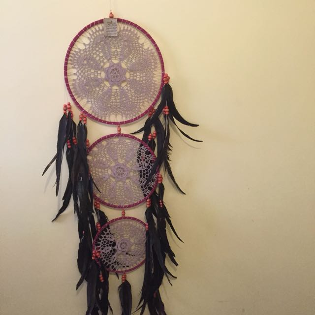 Lilac  Dream Catcher With Real Rooster Feathers