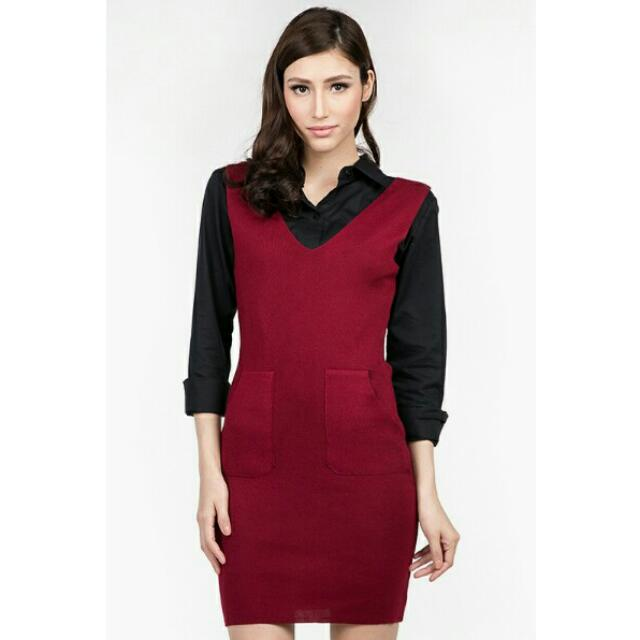 8 Wood Maroon Knit Dress