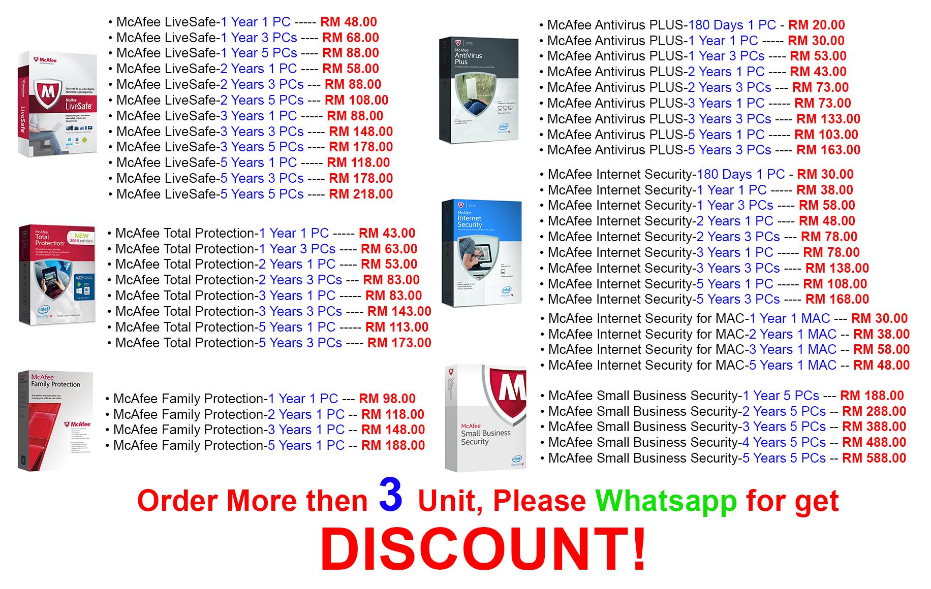 Mcafee AntiVirus Plus 2016 -5 YEAR 1 PC **** Internet Security LiveSafe  windows 7 10 Intel Live Safe