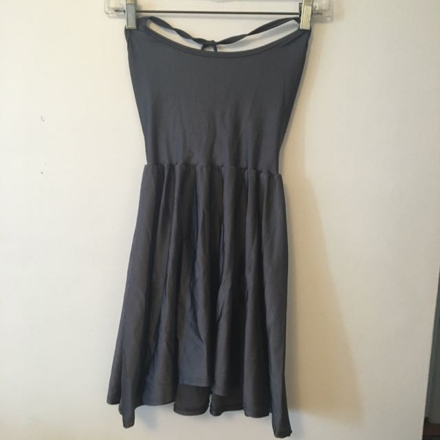Metallic Grey American Apparel Skater Dress