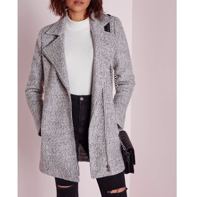 Missguided- Biker Coat Grey Marl (size 8)