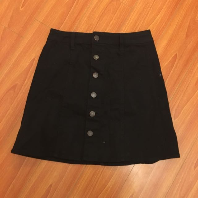 Mossimo Black Button Down Skirt (XS/S)