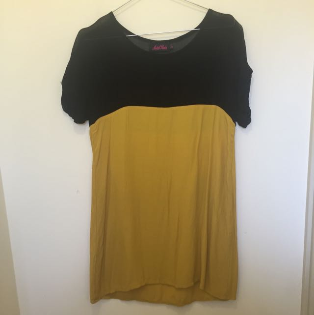 Motel Black And Yellow Shift Dress Size XS
