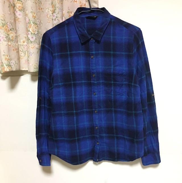 NET暗藍色法蘭絨襯衫