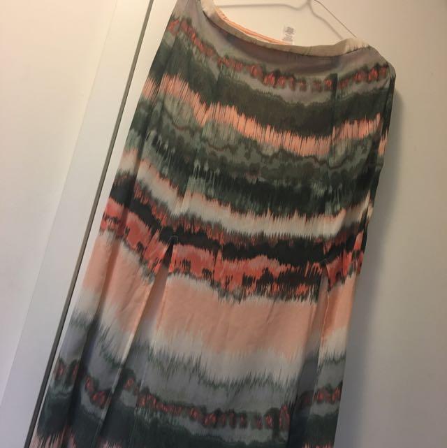 Patterned Long Translucent Skirt