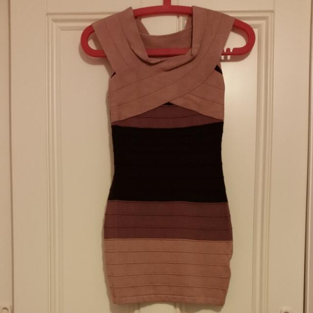 Pink Bodycon Bandage Off The Shoulder Dress Size 8 - 10