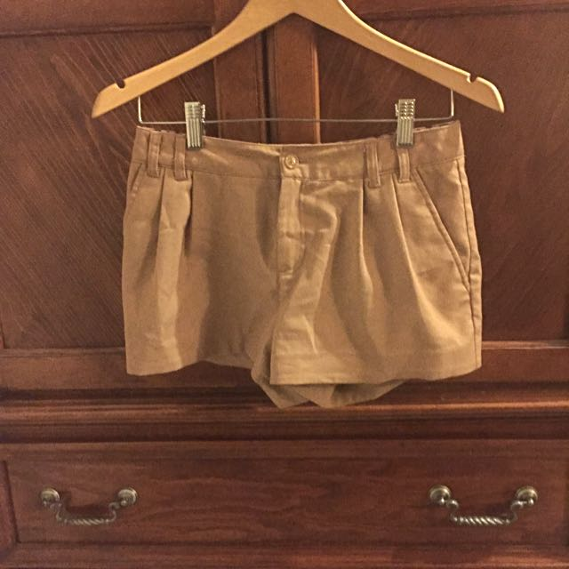 Pleated Tan Shorts