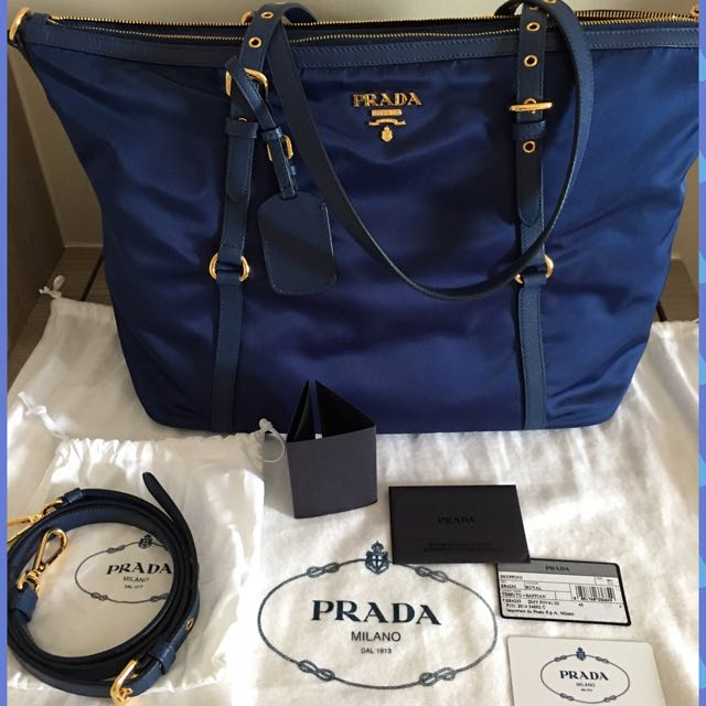 c9bbd6442417 ... italy preloved prada br 4253 tessuto nylon sofy calf leather trim top  zip tote bag blue cheap prada black ...