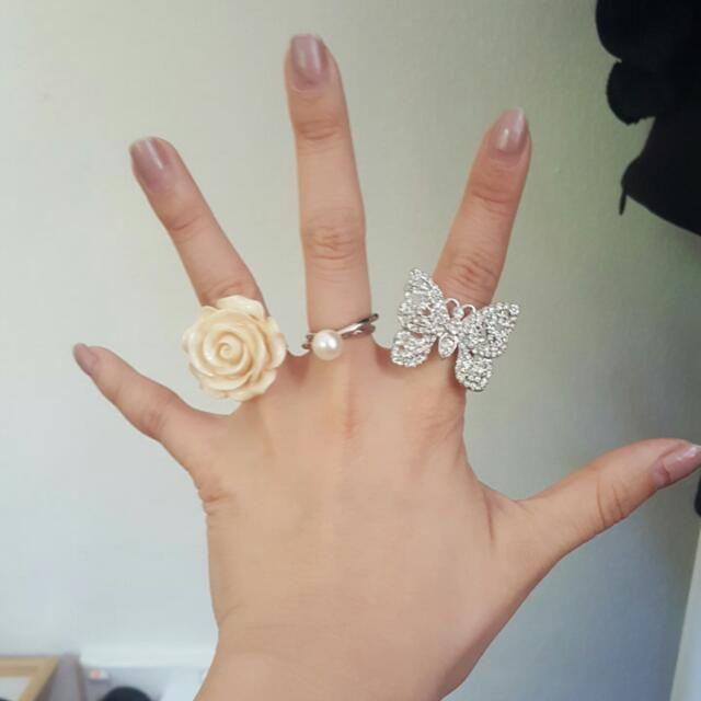 three rings butterfly, pearl and camille flower