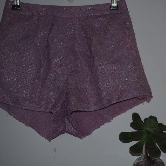 Topshop Metallic High Waisted Shorts