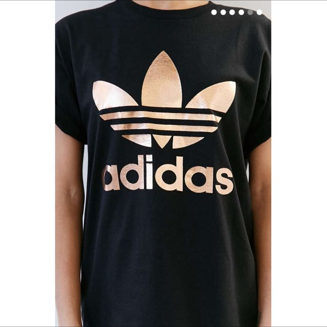 dff42acaeec ... closeout uo exclusive adidas originals rose gold double logo tee womens  fashion clothes on carousell 20e74