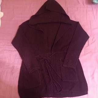 Lulus 棗紅針織 綁帶連帽外套(含運)