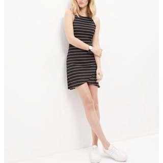 Influence black strip sleeveless wrap dress (Size L)
