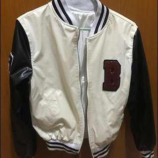 -Dan小舖- 棒球外套 拼接字母皮革短版棒球外套 皮質外套 黑白色