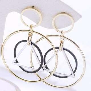 🇰🇷正韓🇰🇷 空間感幾何圈圈銀針耳環