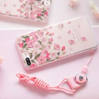 [3C]iPhone7/7 plus高質感 韓風插畫櫻花🌸花朵 超薄透明軟殼iphone6s/plus手機殼
