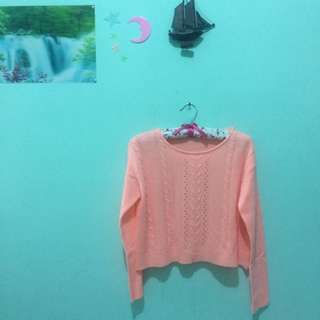 Peach Neon Crop Sweater