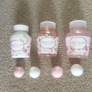Pink Lilly Shower Gel, Body Lotion, Body Scrub And 4 Small Bath Bombs