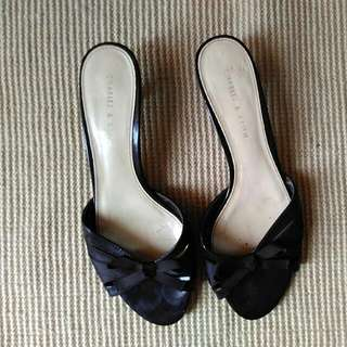 Charles & Keith Kitten Black Heels