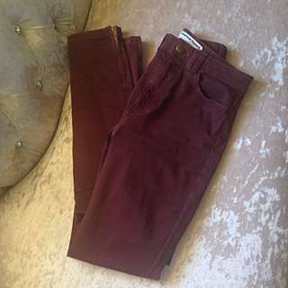 American Apparel Maroon Jeans Size 7