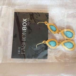 Beauty box Aqua Blue Stone Earrings