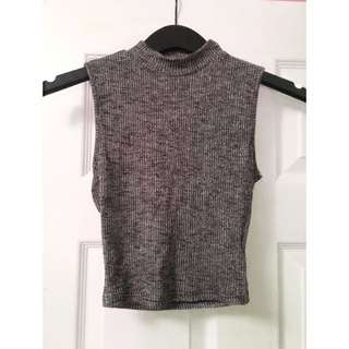 Knit Cropped Grey Mock-neck