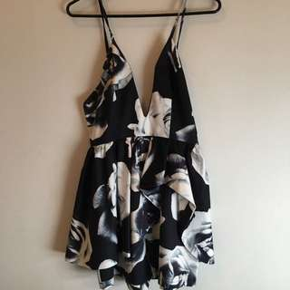 Playsuit Black And White Floral