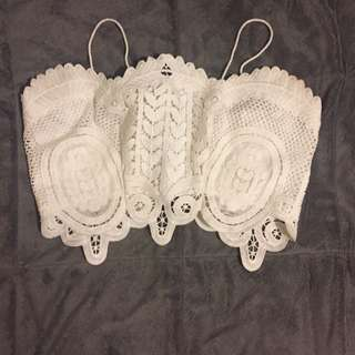 Forever 21 White Lace Crop Top (s)
