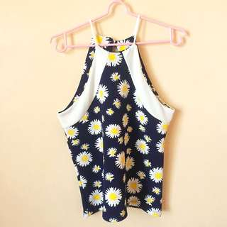 Dark blue sunflower top