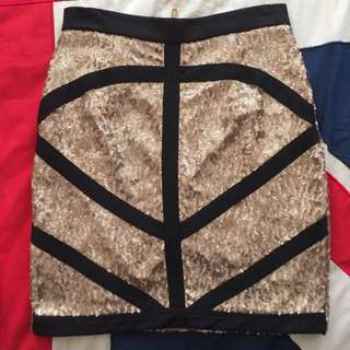 Missguided Gold Sequin Skirt - Size 8