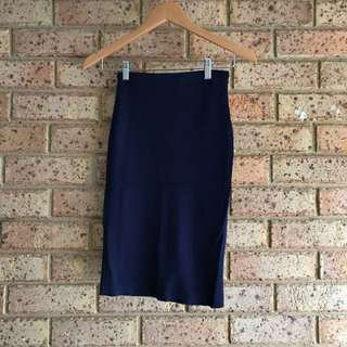Navy Ribbed Bodycon Pencil Skirt