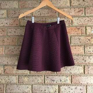 Burgundy Cotton On Mini Skirt