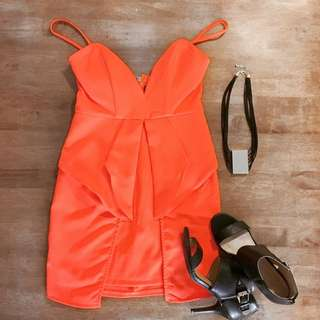 Paradisco (size 8)- Orange Dress