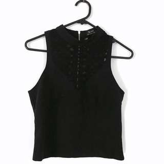 Bardot (size XS)- Black Sleeveless Shirt With Sheer Cut-Out