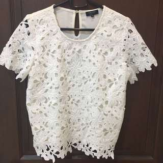 Zalora White Floral Top
